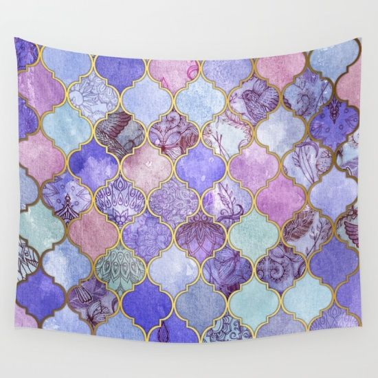 Royal+Purple,+Mauve+&+Indigo+Decorative+Moroccan+Tile+Pattern+Wall+Tapestry+by+Micklyn+-+$39.00