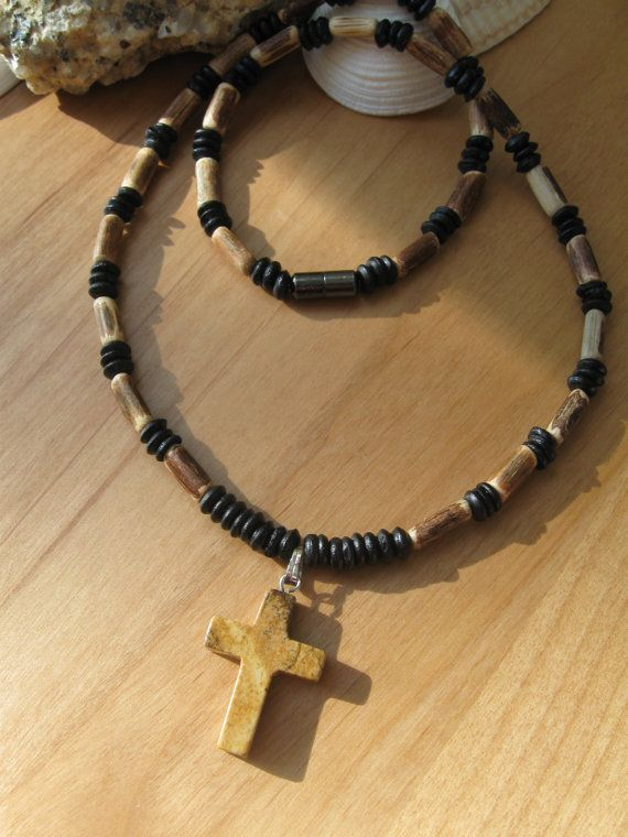 Mens choker men's choker surf choker mens necklace wooden choker with natural stone cross religious gift boys confirmation gift