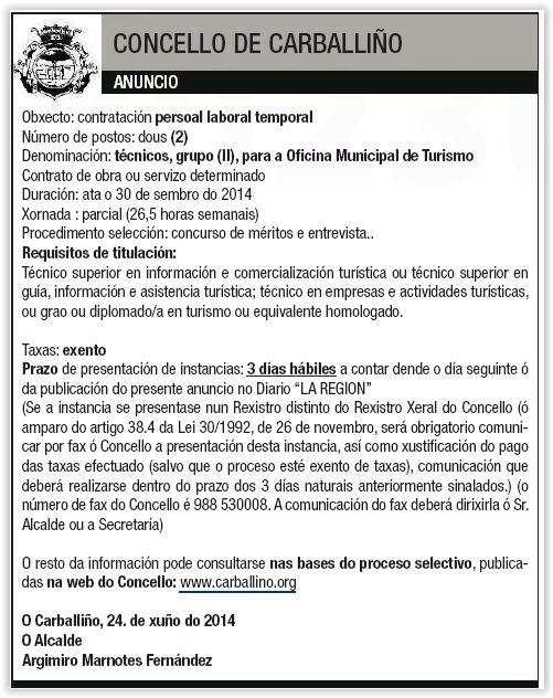Oferta para a familia profesional de Hostalaría e Turismo / Grao en Turismo (via Axencia Local de Colocación)