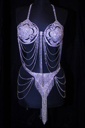 Burlesque Belly Dance Deluxe Crystal Rhinestone Bra & Fringe Skirt Belt Set Belly Dance Costume