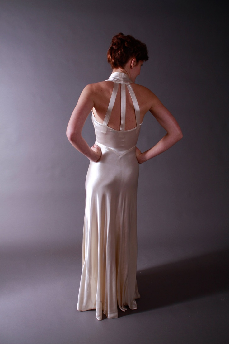 Vintage 1930s Wedding Dress - Hollywood Starlet Satin Bias Cut Gown and Lace Wedding Coat with Massive Train