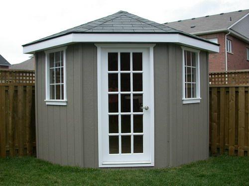 25 best backyard storage ideas on pinterest for Corner garden shed designs