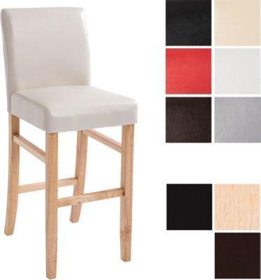 Holz Bar-Stuhl ALVIN mit Kunstlederbezug, Sitzhöhe 75 cm, verschiedene Gestell- & Sitzfarben wählbar | Küche und Esszimmer > Bar-Möbel > Barhocker | Kunstleder | CLP