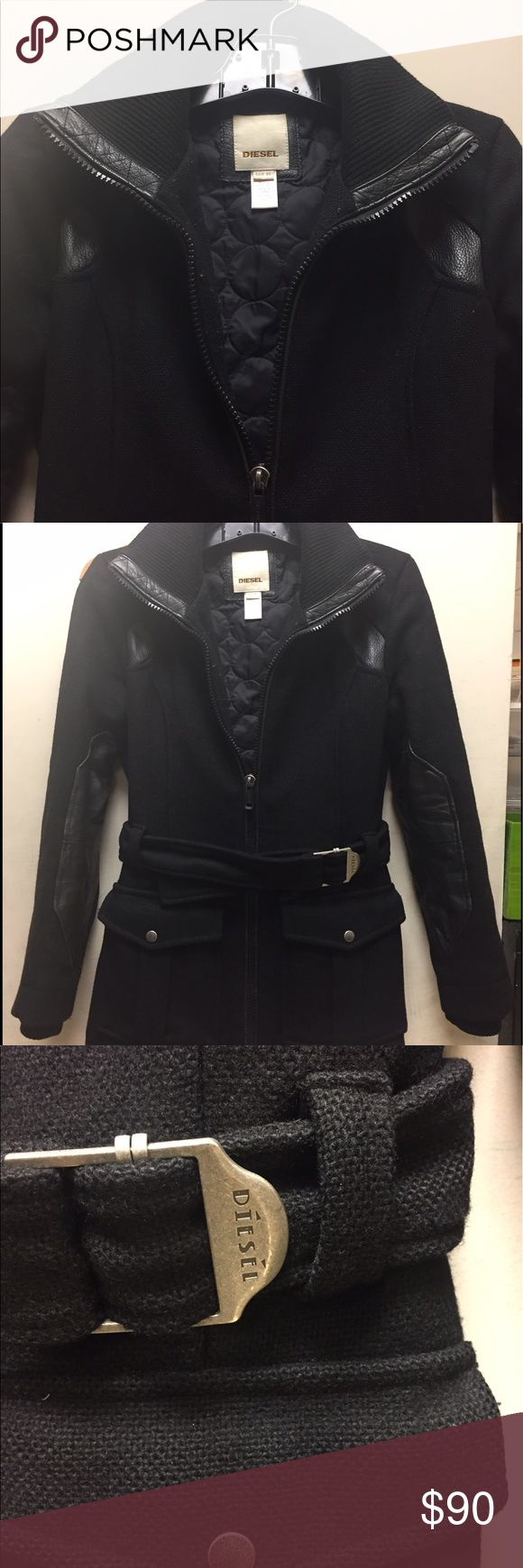 DIESEL COAT Black wool w/ leather patches coat Diesel Jackets & Coats Pea Coats