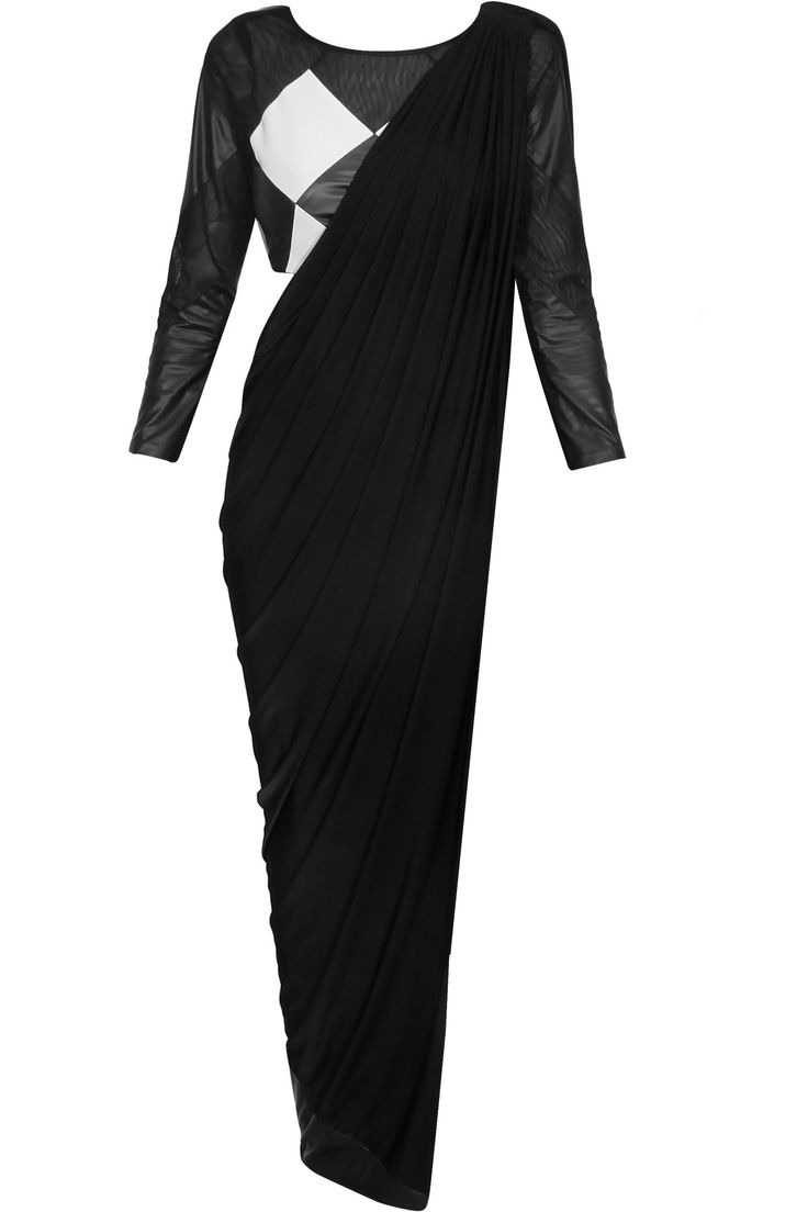 Black and white leather draped sari available only at Pernia's Pop Up Shop.#perniaspopupshop #shopnow #happyshopping #designer #newcollection #bhaavyabhatnagar #clothing