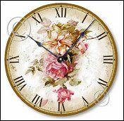 Vintage design elements add a shabby and aged appeal to this clock. Beautiful antique pink roses cascade down center of clock face
