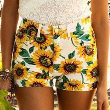 Dulces Varios girasol Impreso Bodycon Pantalones cortos para las mujeres para Vender - La Tienda En Online IGOGO.ES