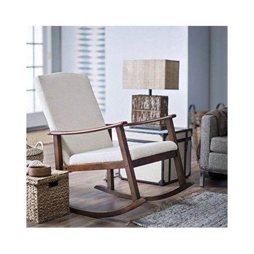 Upholstered Rocking Chair Modern Baby Rocker Nursery Furniture Wood ...