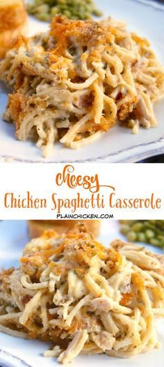 Cheesy Chicken Spaghetti Casserole - chicken, spaghetti, cream of chicken soup, sour cream, butter, seasonings, Parmesan and cheddar cheese -THE BEST! We make this once a month! Makes a great freezer meal!