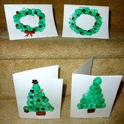 Fingerprint Christmas Trees and Wreaths