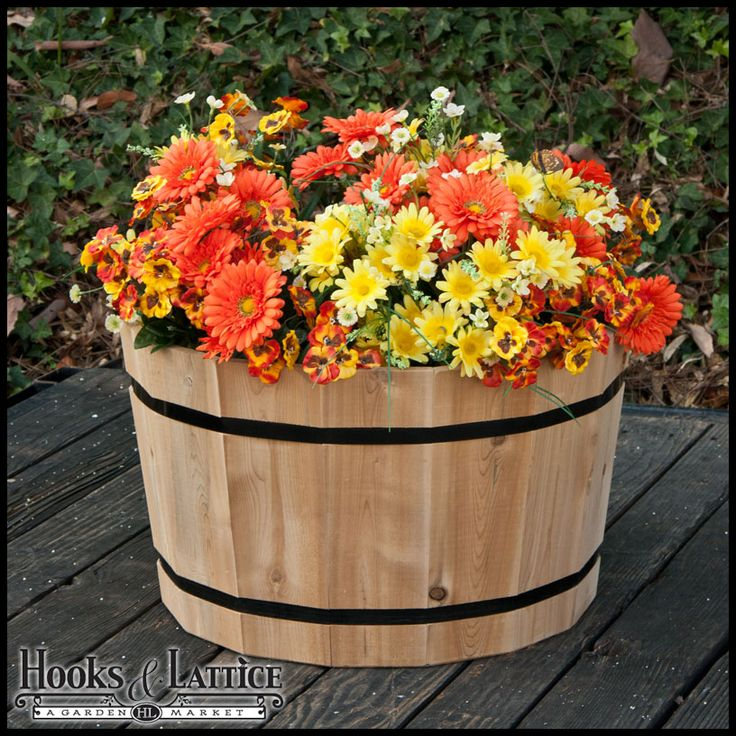 Best 25 wine barrel planter ideas on pinterest wine for Wooden barrel planter ideas