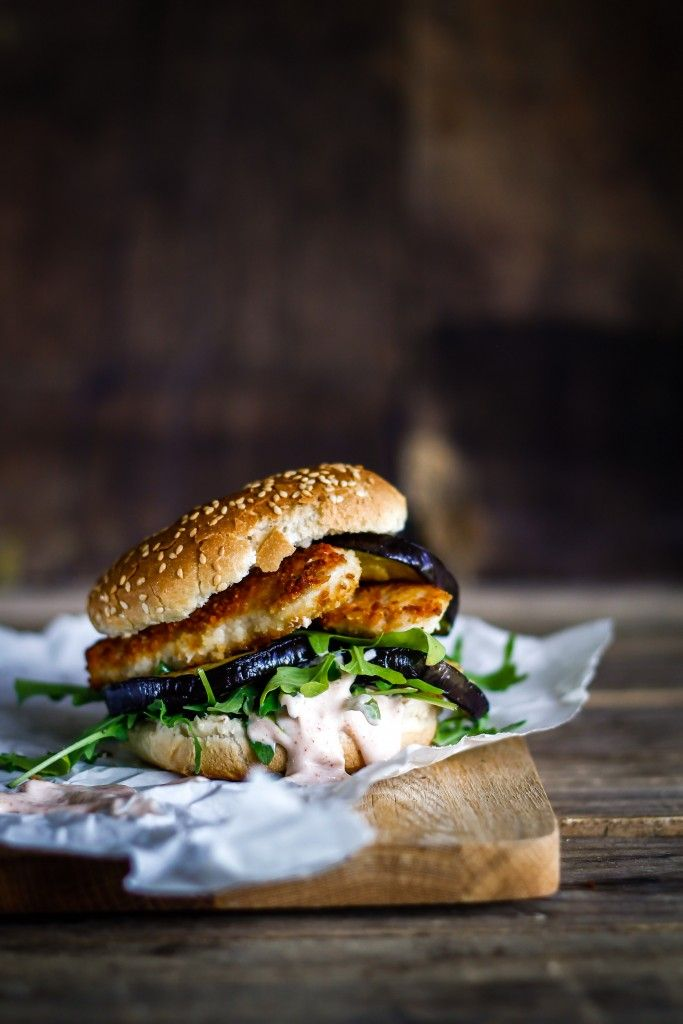 crisp chicken burger with grilled aubergine and chili dressing.