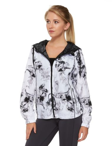 This lightweight, zip-up jacket features an all-over monochrome print. It also has pockets and a hood.