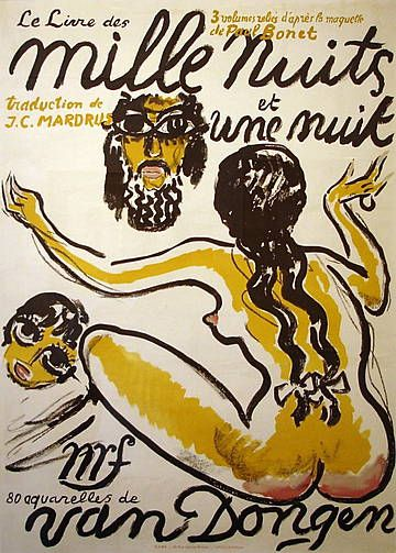'Mille Nuits et une Nuit'  Lithographic poster for 'Le Livre des Mille et Une Nuit, 1955.  Illustrated in Juffermans 'Kees van Dongen - The Complete Graphic Work' page 175