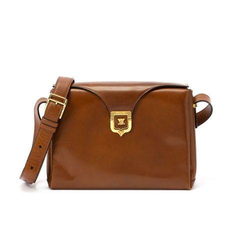 celine brown leather shoulder bag