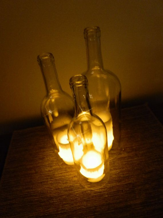Ten Clear Glass Wine Bottle Candle Holder Hanging by BoMoLuTra