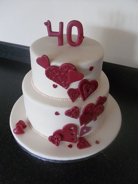 Cascading Hearts Cake 40th Ruby Wedding Anniversary by CCs Cake Creations, via Flickr