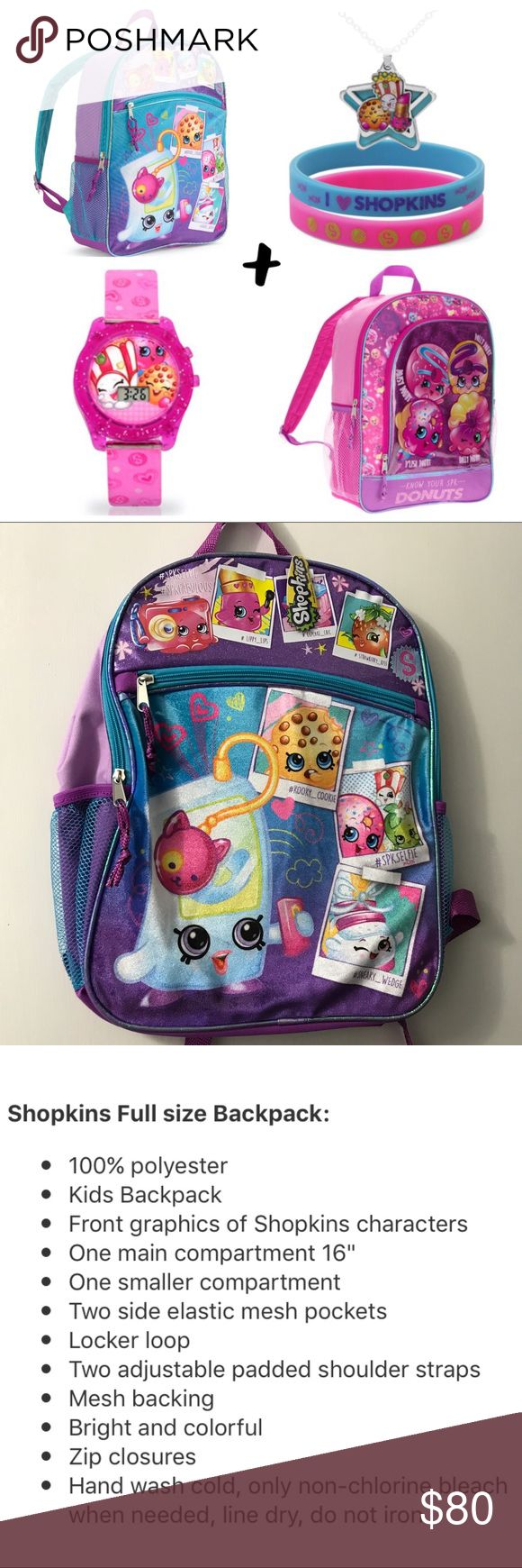 💫BEST BUY🌸SPRING Shopkins Bundle Set🎒🎀🎒⌚️ New Girls Shopkins 2 BackpackS Necklace w Bracelets and Watch Bundle Set.  Brand New w Tags.  Priced to sell!!!! Shopkins Accessories Bags