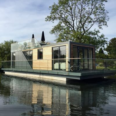 Awesome Prefab Houseboat Gives Water Babies A Taste Of Landlubber Luxury.