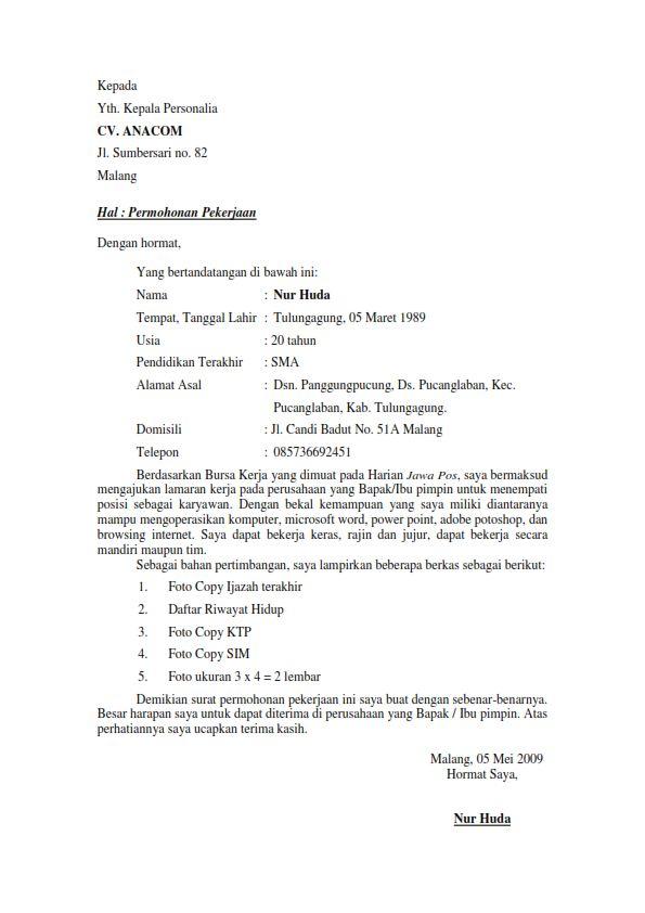 Contoh Surat Lamaran Kerja Fresh Graduate 6