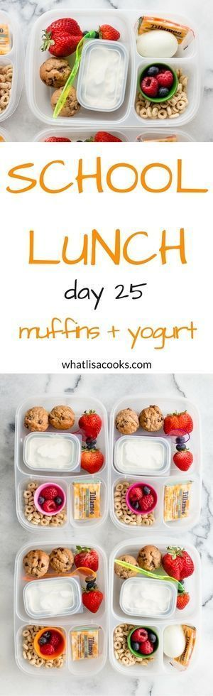 Easy school lunch idea: breakfast for lunch.  Easy banana chocolate chip muffins (with recipe!). http://whatlisacooks.com