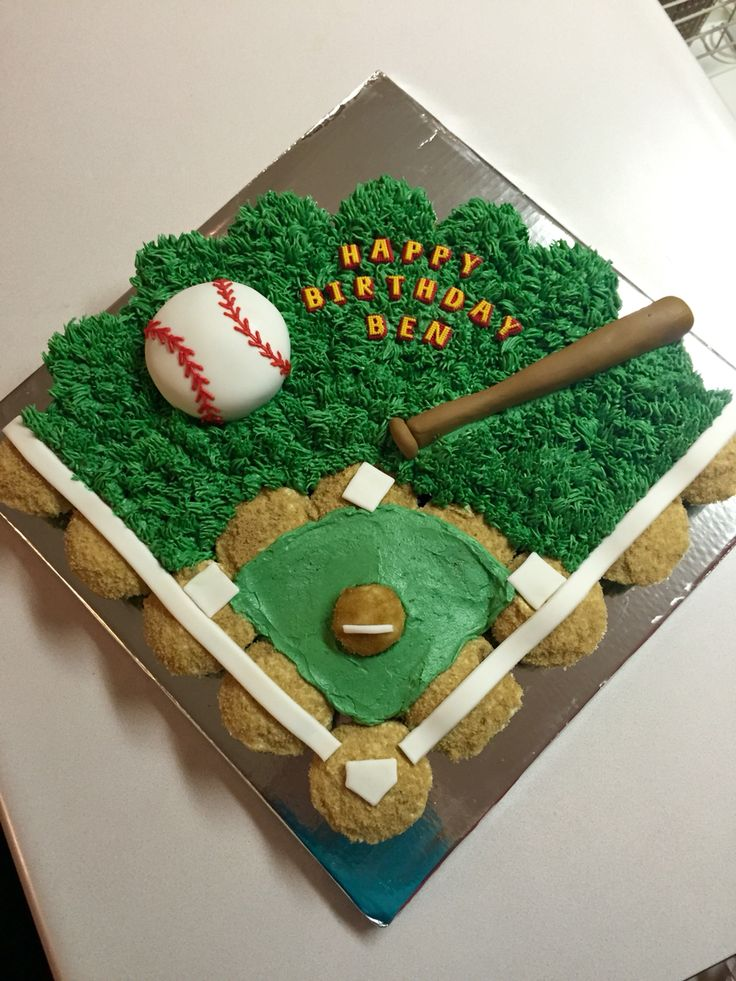 Baseball Cupcake Cake www.facebook.com/shellissweettreats
