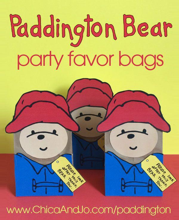 Transform a basic lunch bag into Paddington Bear party favor bags with our printable Paddington Bear templates.