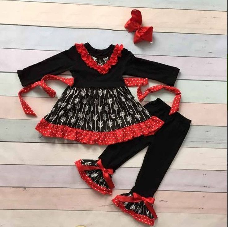 Girls Black and Red Ruffle Arrow Pant Set With Red Bow www.My4Princesses.com