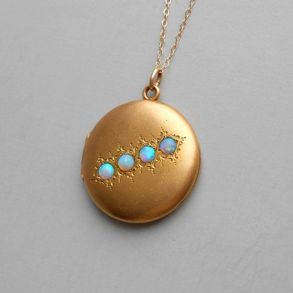 Antique Opal Locket. Four Beautiful Stones. Plated by TheDeeps