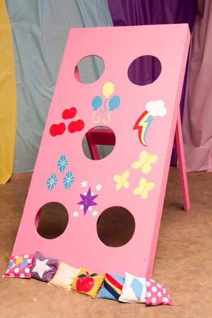 My Little Pony Birthday game, bean bag toss, cutie marks.