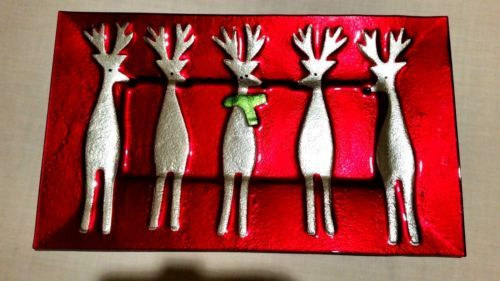 Mid-century-Red-Serving-Tray-Platter-Silver-Reindeer-16-5-034-x10-034-Christmas-Winter