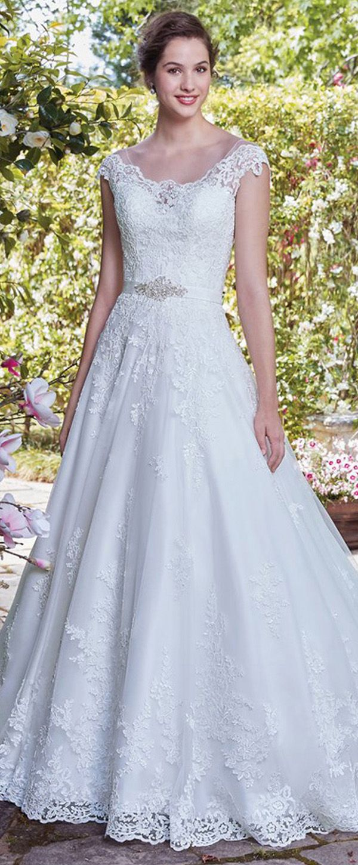NEW! Marvelous Tulle Scoop Neckline A-Line Wedding Dress With Lace Appliques & Belt