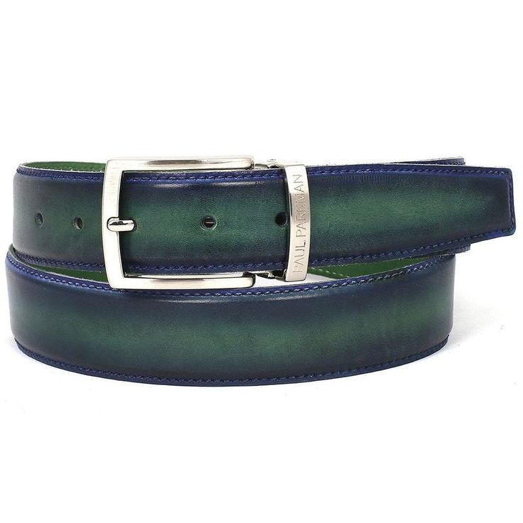Finest Italian genuine calfskin crust leather. Dual tone hand-painted Blue & Green color to match your Paul Parkman shoes. Size may be adjustable from the b