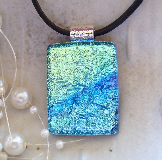 Fused Dichroic Glass Pendant Fused Jewelry Blue by myfusedglass