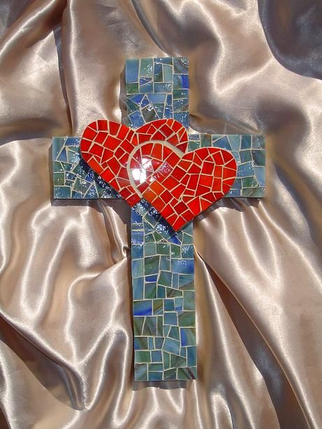 Cross Small Two Hearts Red and Blue Green.jpg 461×615 pixels