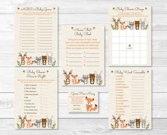 Woodland Forest Animal Baby Shower Games Package-6 ...