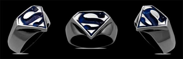 3612A-P Solid Black Sterling Silver Superman Ring