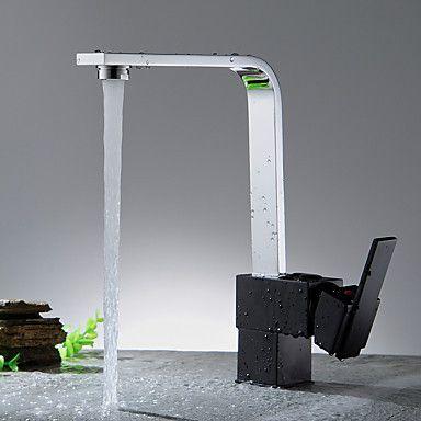 keittiöhanat-Moderni-Vesiputous-Messinki(Nikkeli kiillotettu)