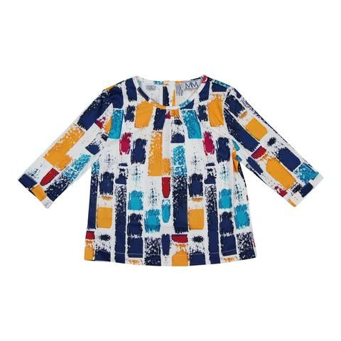 MeMe Navy Brush Strokes Print Top - Young Timers Boutique