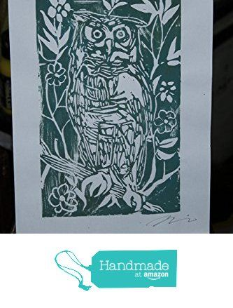 Il Gufo verde scuro, linografia -Incisione artistica originale di Davide Pacini stampata a mano dimensioni cm 20,9x29,8 cm.Made in Italy,toscana Lucca. da Arte Pacini Davide https://www.amazon.it/dp/B071196NYF/ref=hnd_sw_r_pi_dp_NE3pzbMR6JP85 #handmadeatamazon