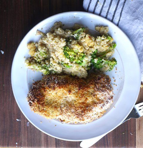 Double-Dipped Oven-Fried Chicken + Broccoli and Goat Cheese Quinoa Ca ...