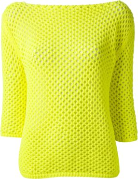 Bright yellow crochet sweater from Pinko featuring a boat neck, three-quarter length sleeves and a straight hem.