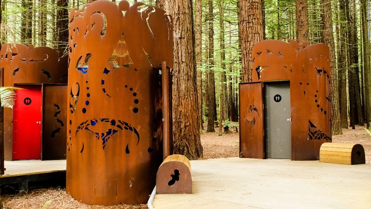 These public toilets are encased in shrouds designed by Maori artist Kereama Taepa. Each depicts an extinct or endangered native bird.