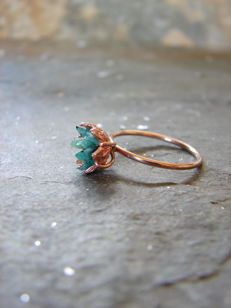 Rough Emerald Ring, Rose Gold and Emerald Ring, Raw Gemstone Engagement, Women's May Birthstone Ring, Lotus Flower Jewelry, Unique