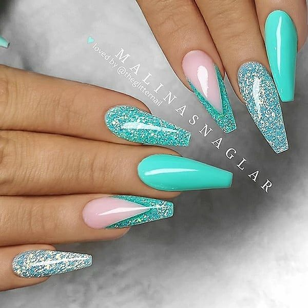 Teal Nails 40 Teal Color Nail Designs You Will Fall In Love Nail Shapes In 2020 Turquoise Nails Teal Nails Summer Acrylic Nails