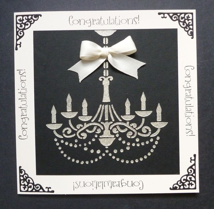 "'Time to Celebrate' - a 'sneaky peek' card - Imagination Craft's-  6"" x 6"" Chandelier stencil.  Clotted Cream Starlight paint.  Large stencil brush.  Magi-bond glue.  Black ink pad.  Tattered Lace corner die.  July 2017.  Designed by Jennifer Johnston."