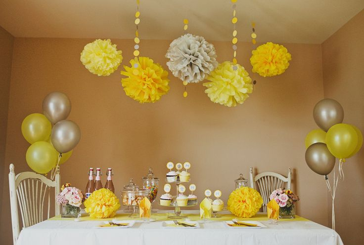 Yellow Party & Shower DIY Decoration Package (PomPoms, Garlands, Cupcake Deco, etc.).  via Etsy.