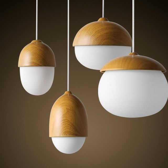 nordic style ike home decorative wood pendant light nut egg shaped bar cafe bedroom pendant lamp. Black Bedroom Furniture Sets. Home Design Ideas