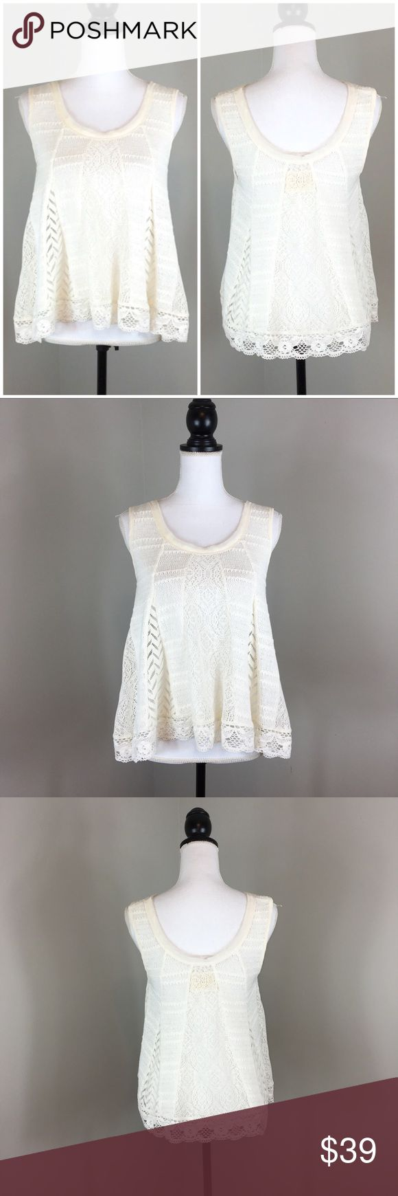 Anthro Meadow Rue Carrigan Mixed Lace Tank Anthropologie Meadow Rue Carrigan Mixed Lace Tank Top. Size medium. Approximate measurements flat laid are 22' long and 16' bust. Good used condition. Stock photos for fit now color. Anthropologie Tops Tank Tops