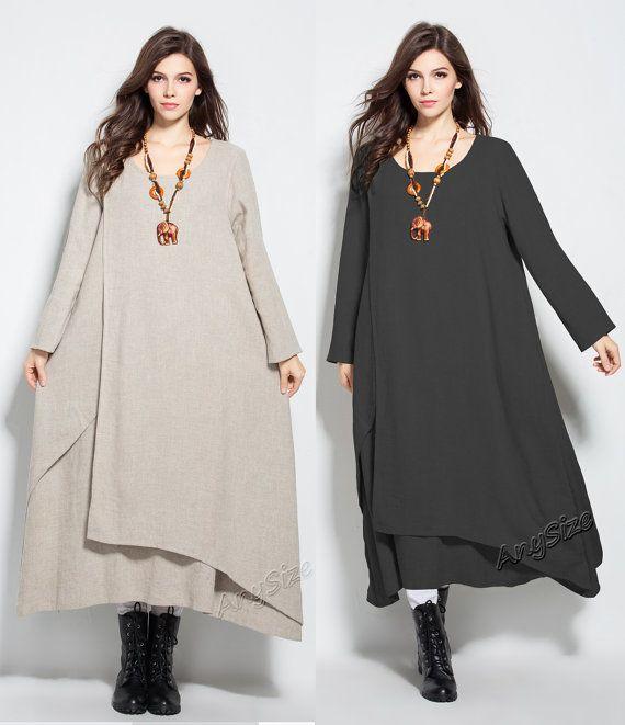 Anysize Fake Two-Piece Winter Spring thick linen&cotton par AnySize